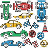 Collection of vintage classic sport cars. Racer championship vector set. Collection of vintage classic sport cars. Racing sport illustration stock illustration
