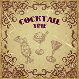 Collection of vintage cocktails with art deco border. Retro hand drawn vector illustrations. On grunge background Stock Photo