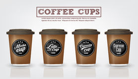Collection of vintage coffee badges and logo on coffee cup Royalty Free Stock Photos