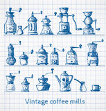Collection of vintage coffee mills. Pen sketch. Stock Image
