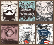 Collection of vintage creative cards with hand sketched hipster Stock Images