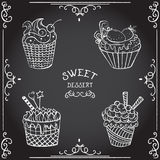 Collection of vintage cupcake. Royalty Free Stock Photos