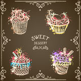 Collection of vintage cupcakes with abstract splashes in watercolor style. Royalty Free Stock Photo