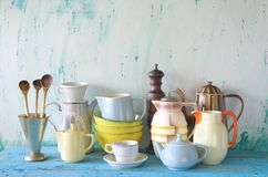 Collection of vintage dinnerware Royalty Free Stock Images