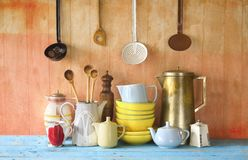 Collection of vintage dishes Stock Photos