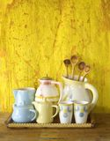 Collection of vintage dishes Stock Photography