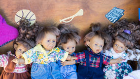 Collection of vintage dolls Stock Photos