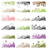 Collection of vintage floral borders Stock Image