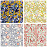 Collection of vintage floral seamless pattern Stock Photos