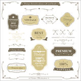 Collection of vintage frame border rule and design element. Vector illustration Stock Image