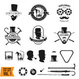 Collection of vintage gentleman emblems, labels, badges and design elements. Vector illustration. Royalty Free Stock Photo