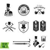 Collection of vintage gentleman emblems, labels, badges and design elements. Vector illustration. Stock Image