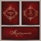 Collection of vintage golden frames on blurred dark red background Royalty Free Stock Photography