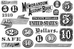 Collection of Vintage Graphic Elements. Old, distressed black and white graphic elements from 1870 through 1920.  Numbers and words, isolated on white Stock Photos