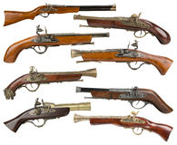 Collection of vintage guns isolated on the white background Royalty Free Stock Images