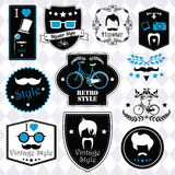 Collection of vintage hipster badges, labels and stamps Royalty Free Stock Photography