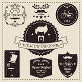 Collection of vintage hipster badges, labels and stamps Royalty Free Stock Photo