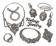 Collection vintage Jewelry. Gold and Precious Stones. Hand drawn sketches vector illustration Stock Photo