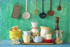 Collection of vintage kitchenware Royalty Free Stock Photo