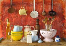 Collection of vintage kitchenware Stock Photos
