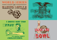 Collection of Vintage Label for T Shirt Print Stock Photography