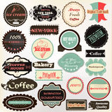 Collection of vintage labels coffee, ice cream and quality for d Royalty Free Stock Photography