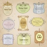 Collection of vintage labels in color - vector design Stock Photos