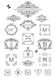 Collection of vintage labels, headers and frames for wedding invitation, greeting card, logo templates, monogram, menu card stock illustration