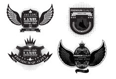Collection of vintage labels with wings royalty free illustration