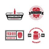 Set of vintage logo, badge, emblem or logotype elements for beer, shop, home brew, tavern, bar, cafe and restaurant vector illustration