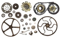 Collection of vintage machine gears Royalty Free Stock Photo