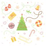 Collection of Vintage Merry Christmas And Happy New Year ornaments. A selection of patterns for packaging, postcards, background. Seamless New Year`s background vector illustration