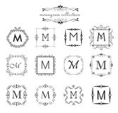 Collection of vintage monogram. Logo templates, vintage vector black frames for menu card, invitation label, Restaurant, Cafe, Hot Royalty Free Stock Photos