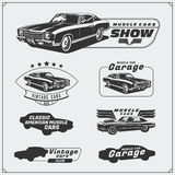 Collection of vintage muscle cars labels, badges and design elements. Car service labels. Black and white illustration Stock Photo
