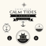 Collection of Vintage Nautical Badges and Labels Royalty Free Stock Photo
