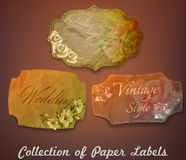 Collection of vintage paper labels with flowers Royalty Free Stock Photo