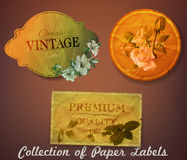 Collection of vintage paper labels with flowers Royalty Free Stock Images