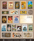 Collection of Vintage Postage Stamps. With Various Themes and prices. Empty  distressed postcards and rubber stamps are included Royalty Free Stock Photography