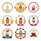 Collection of vintage retro bakery badges and labels Royalty Free Stock Images