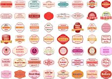 Collection of vintage retro bakery logo badges and labels Stock Image