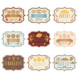 Collection of vintage retro bakery logo with bread,pretze. Collection of vintage retro bakery logo labels with bread,pretzel,croissant,cupcake and spike. Vector vector illustration