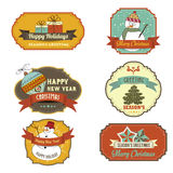 Collection of vintage retro Christmas labels Royalty Free Stock Photos