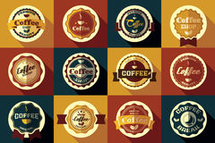 Collection of vintage retro coffee stickers, badges, ribbons Royalty Free Stock Images