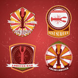 Collection of vintage retro grunge Lobster restaurant labels, badges and icons. Royalty Free Stock Photos