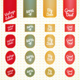 Collection of vintage retro grunge sale labels Royalty Free Stock Image