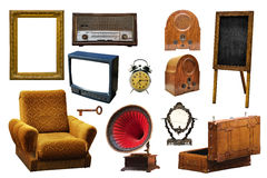 Collection of vintage retro home related objects isolated on whi Royalty Free Stock Photo