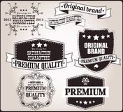 Collection of vintage retro labels, badges, stamps, ribbons. Marks and typographic design elements, vector illustration Stock Photo