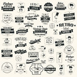 Collection of vintage retro labels, badges, stamps, ribbons. Marks and typographic design elements, vector illustration