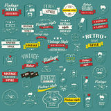 Collection of vintage retro labels, badges, stamps, ribbons. Marks and typographic design elements, vector illustration Royalty Free Stock Photos