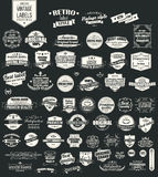 Collection of vintage retro labels, badges, stamps, ribbons vector illustration